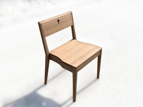 Wooden stacking church chair ZOE made of oak wood.